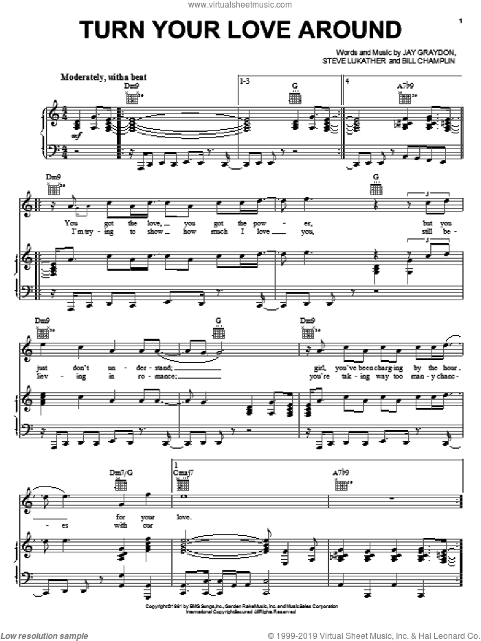 Turn Your Love Around sheet music for voice, piano or guitar by Steve Lukather