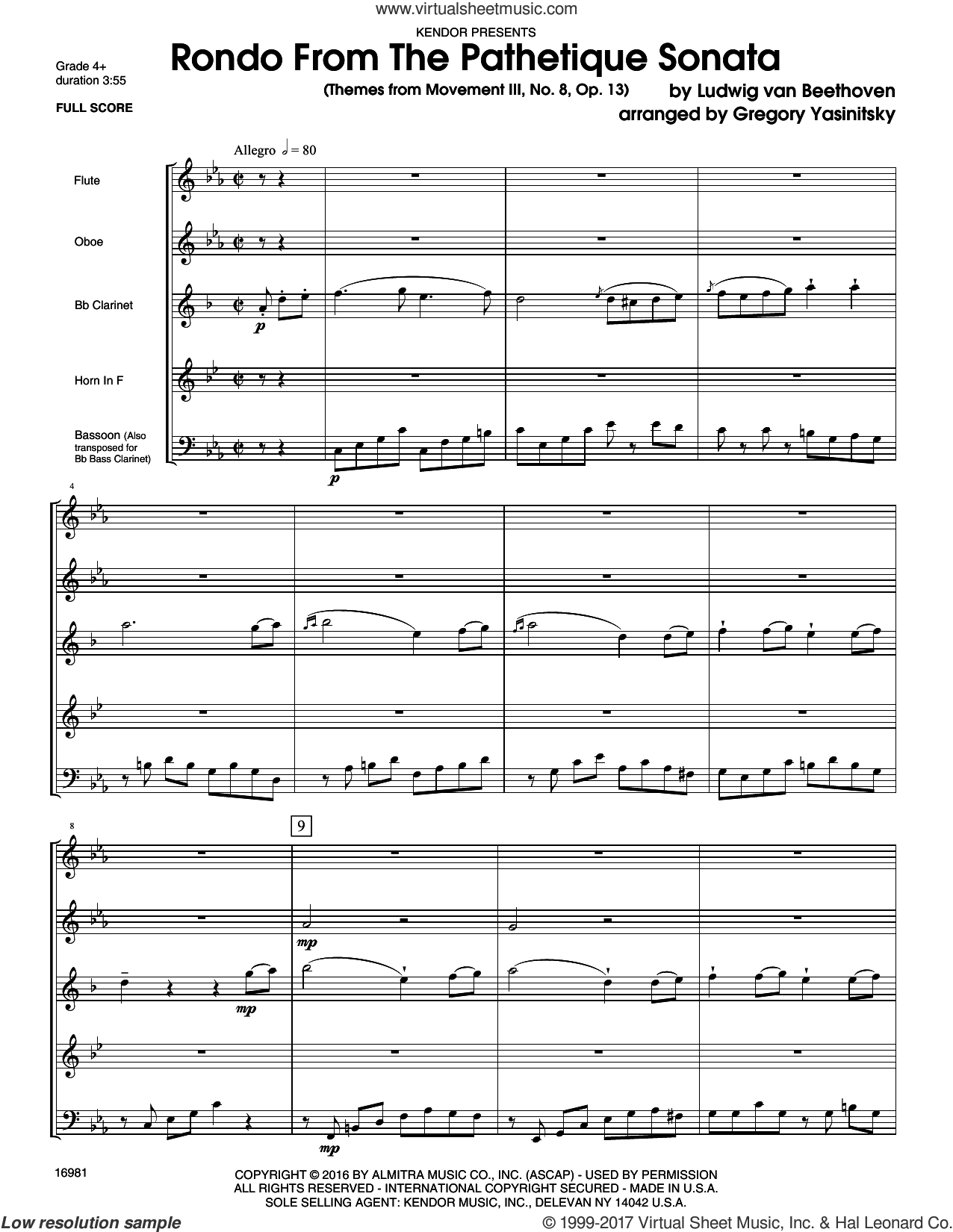 Rondo From The Pathetique Sonata (Themes From Movement III, No. 8, Op. 13) (COMPLETE) sheet music for wind quintet by Ludwig van Beethoven and Gregory Yasinitsky, classical score, intermediate skill level