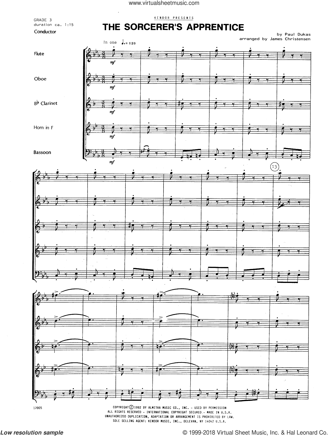 The Sorcerer's Apprentice (COMPLETE) sheet music for wind quintet by James Christensen, intermediate wind quintet. Score Image Preview.