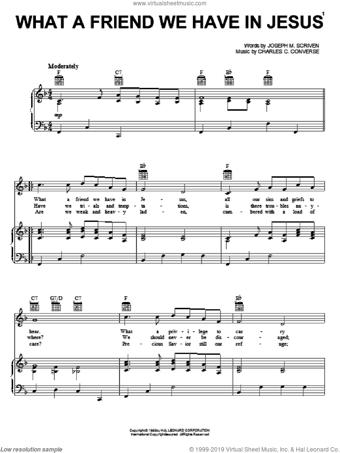 What A Friend We Have In Jesus sheet music for voice, piano or guitar by Joseph M. Scriven, Mahalia Jackson and Charles C. Converse, intermediate. Score Image Preview.