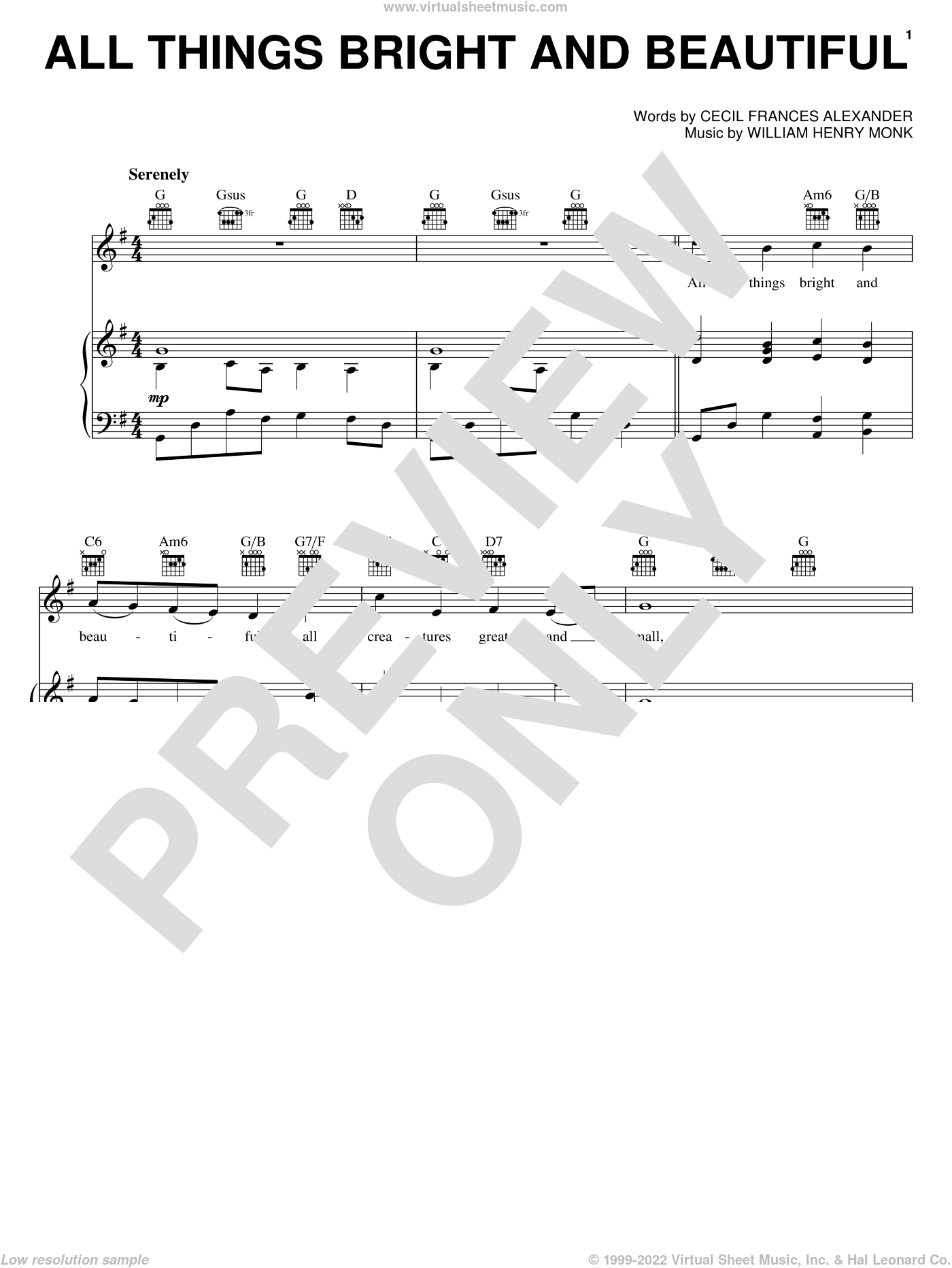 All Things Bright And Beautiful sheet music for voice, piano or guitar by William Henry Monk