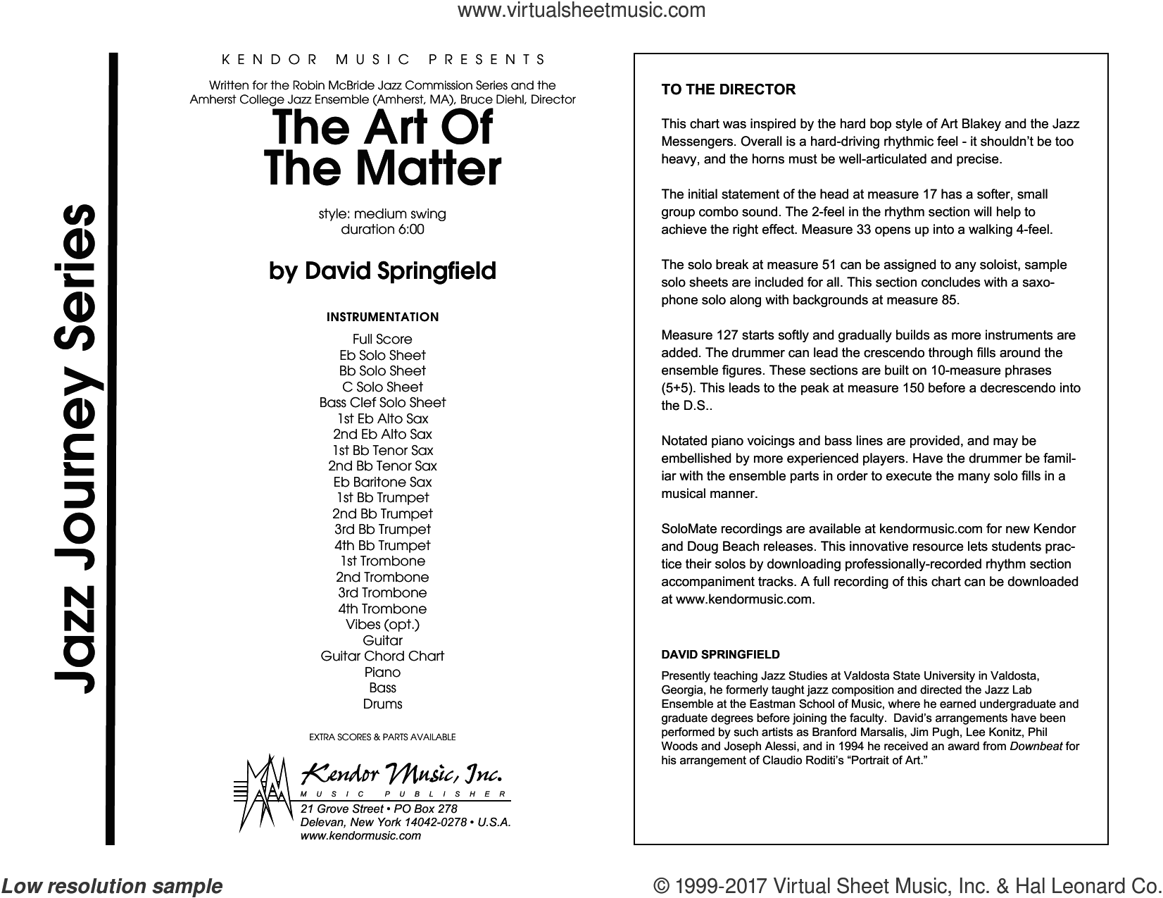 The Art Of The Matter (COMPLETE) sheet music for jazz band by David Springfield, intermediate skill level