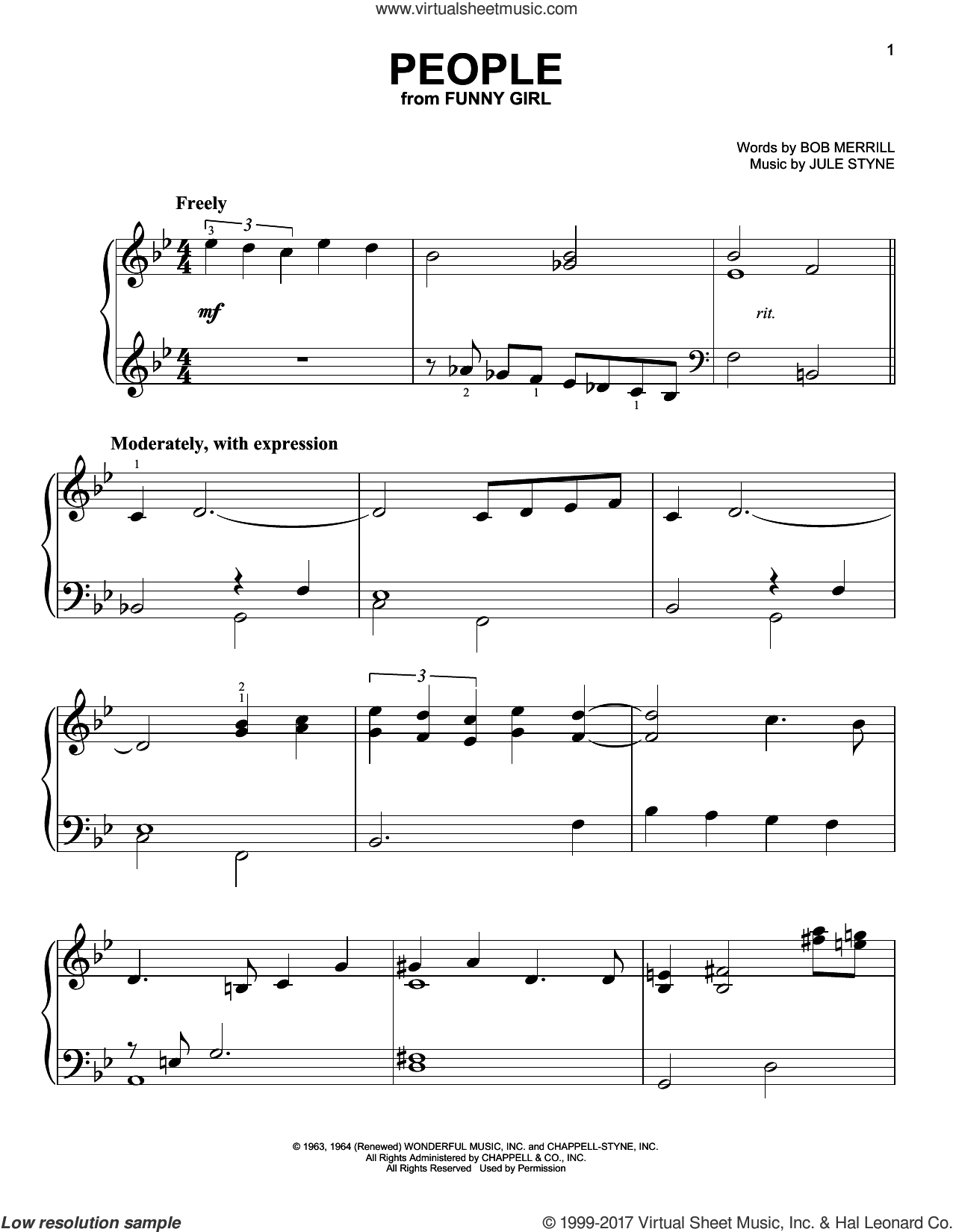 People, (easy) sheet music for piano solo by Barbra Streisand, Bob Merrill and Jule Styne, easy skill level