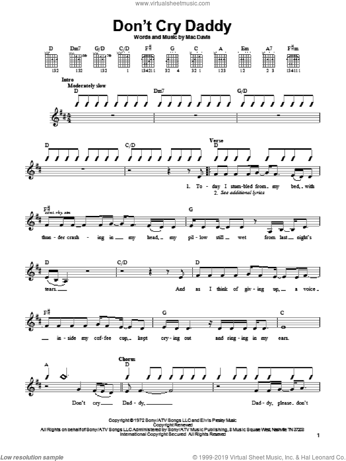 Don't Cry Daddy sheet music for guitar solo (chords) by Elvis Presley and Mac Davis. Score Image Preview.