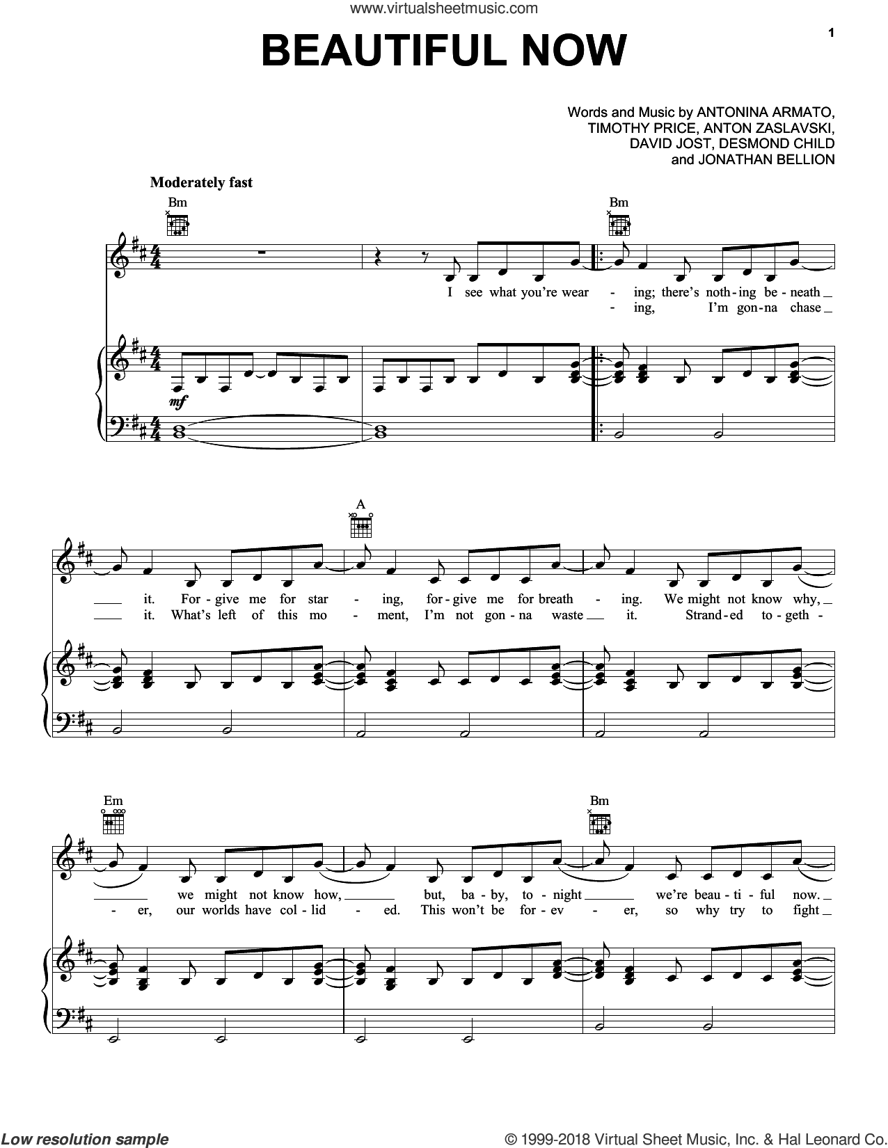 Beautiful Now sheet music for voice, piano or guitar by Zedd, Anton Zaslavski, Antonina Armato, David Jost, Desmond Child, Jonathan Bellion and Timothy Price, intermediate. Score Image Preview.
