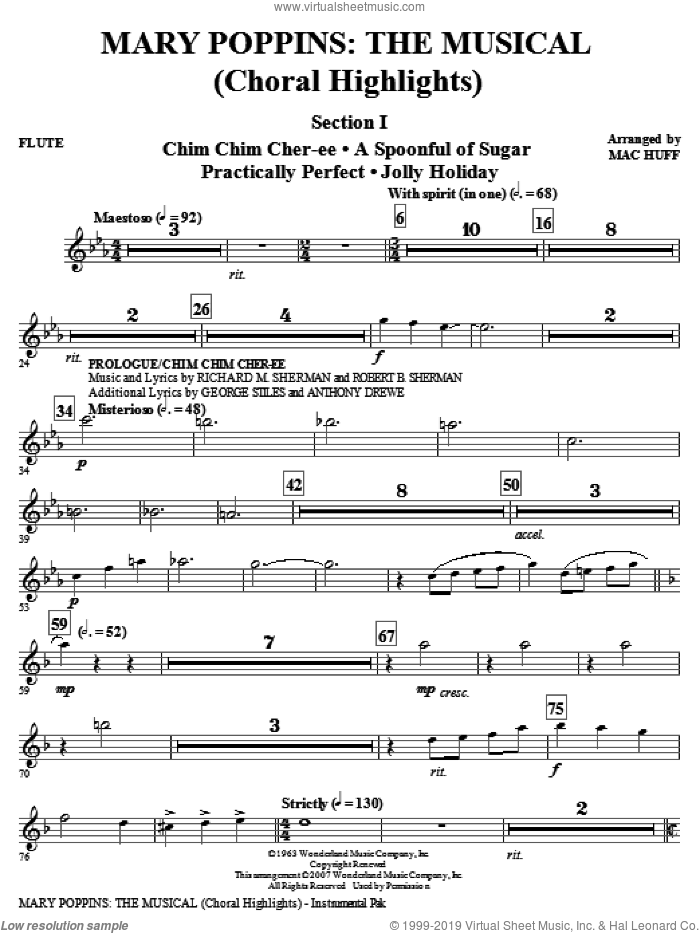 Huff - Mary Poppins: The Musical (complete set of parts) sheet music for  orchestra/band