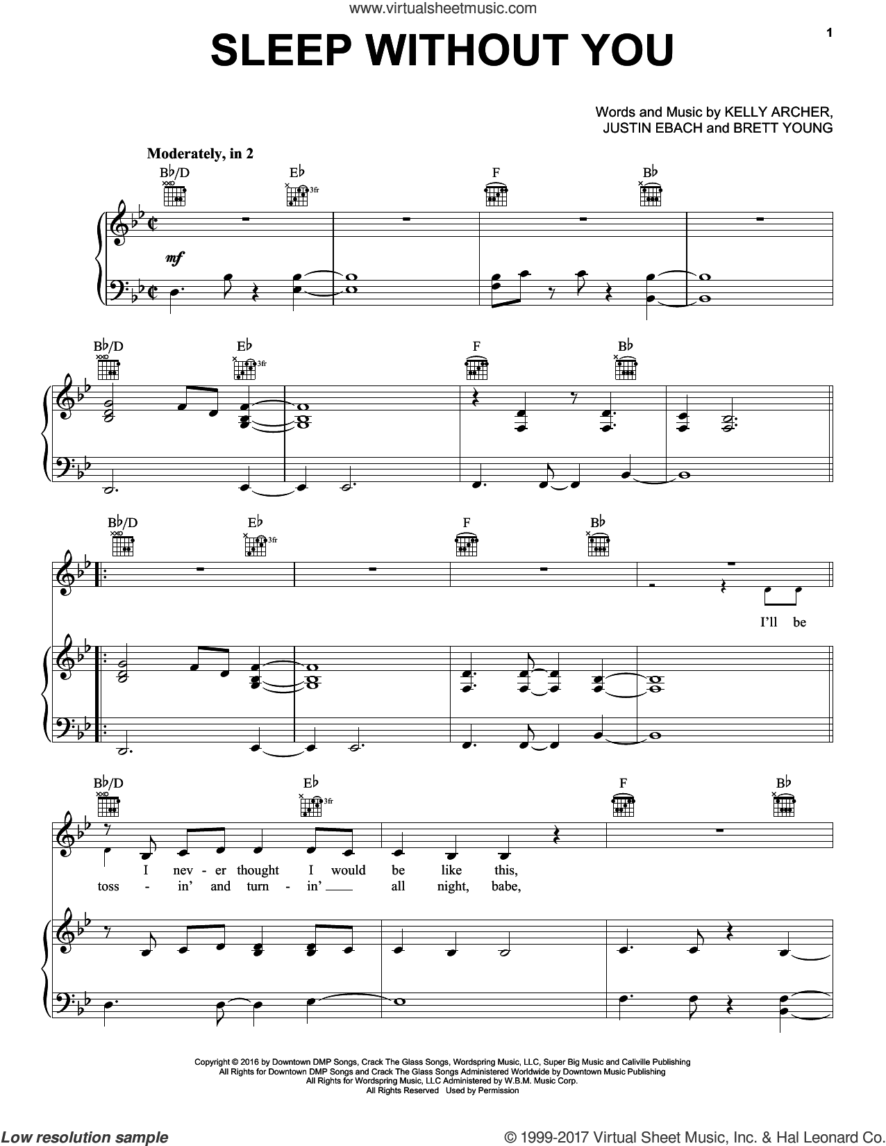 Sleep Without You sheet music for voice, piano or guitar by Brett Young, Justin Ebach and Kelly Archer, intermediate skill level