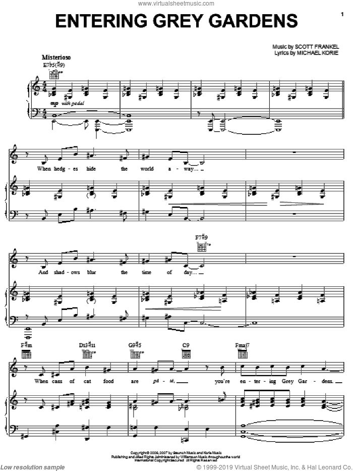 Entering Grey Gardens sheet music for voice, piano or guitar by Michael Korie, Grey Gardens (Musical) and Scott Frankel, intermediate skill level
