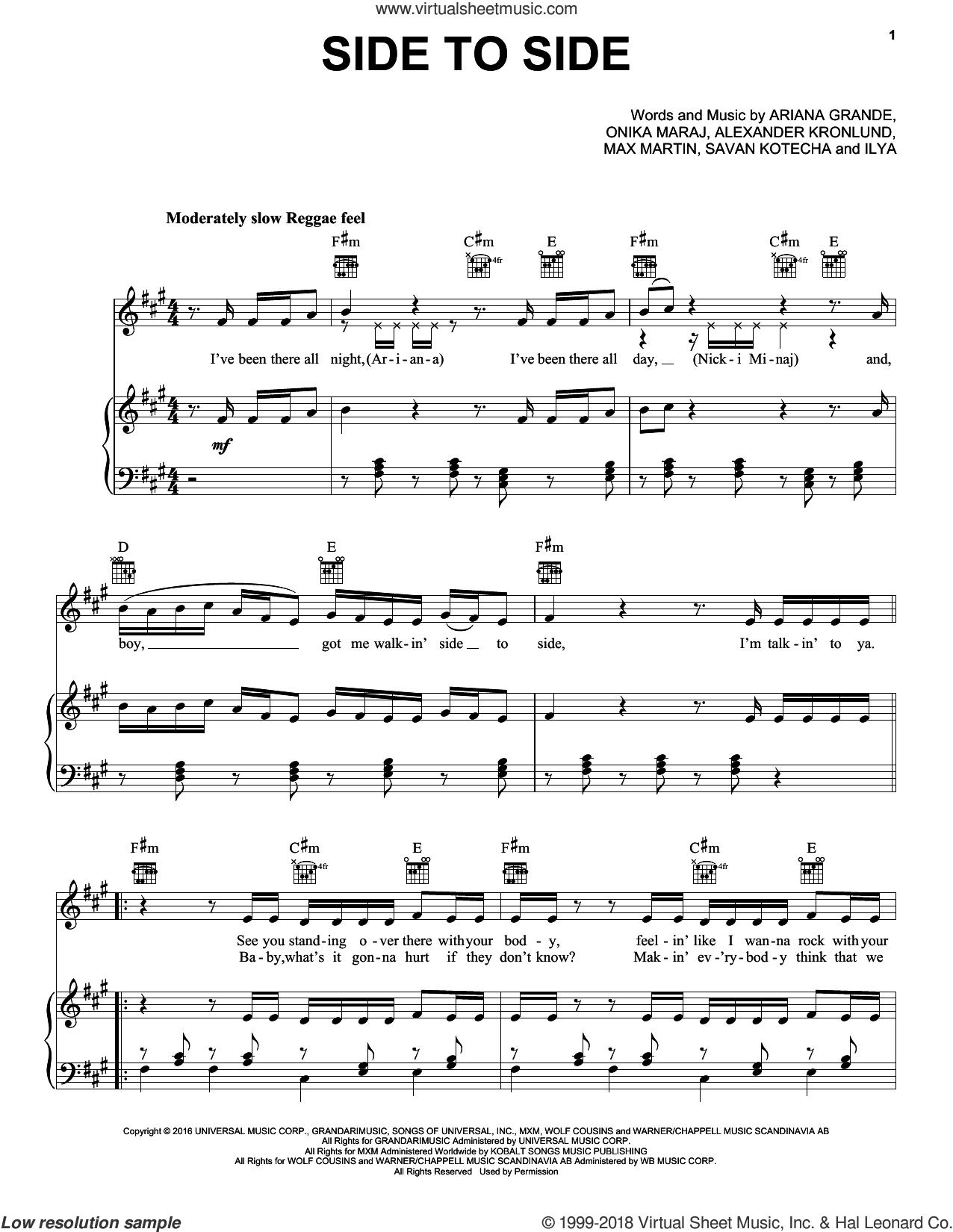 Side To Side sheet music for voice, piano or guitar by Ariana Grande feat. Nicki Minaj, Alexander Kronlund, Ilya Salmanzadeh, Max Martin, Onika Maraj and Savan Kotecha, intermediate skill level