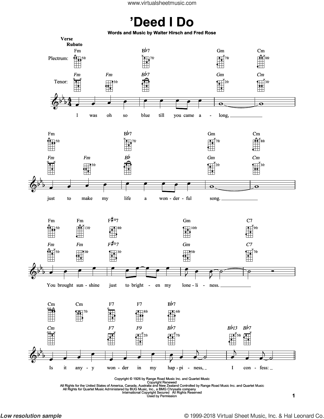 'Deed I Do sheet music for banjo solo by Fred Rose and Walter Hirsch, intermediate skill level