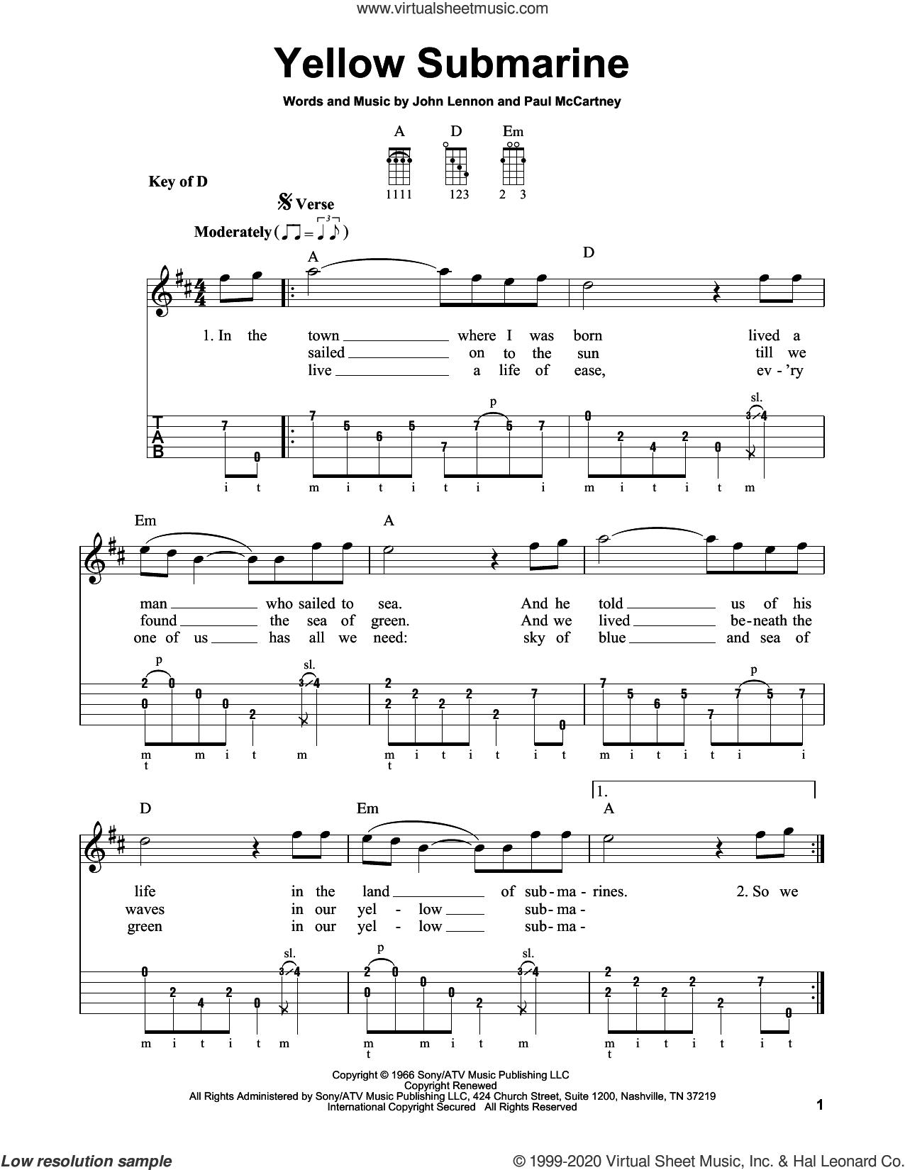 Yellow Submarine sheet music for banjo solo by The Beatles, John Lennon and Paul McCartney, intermediate skill level