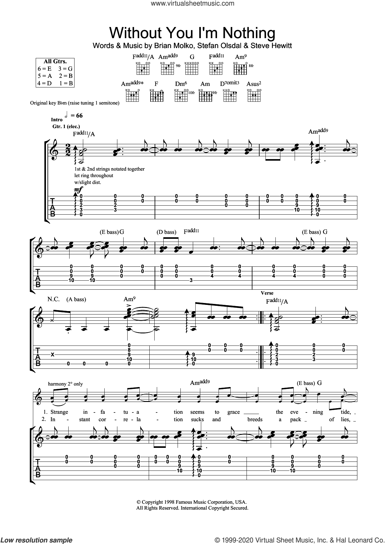 Without You I'm Nothing sheet music for guitar (tablature) by Placebo, Brian Molko, Stefan Olsdal and Steve Hewitt, intermediate skill level