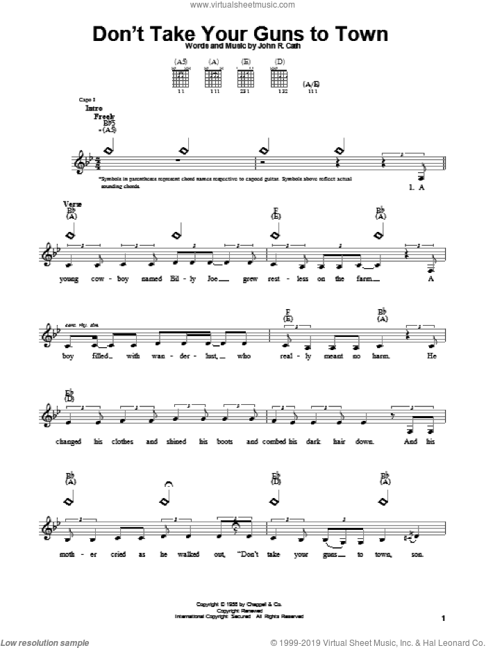 Don't Take Your Guns To Town sheet music for guitar solo (chords) by Johnny Cash