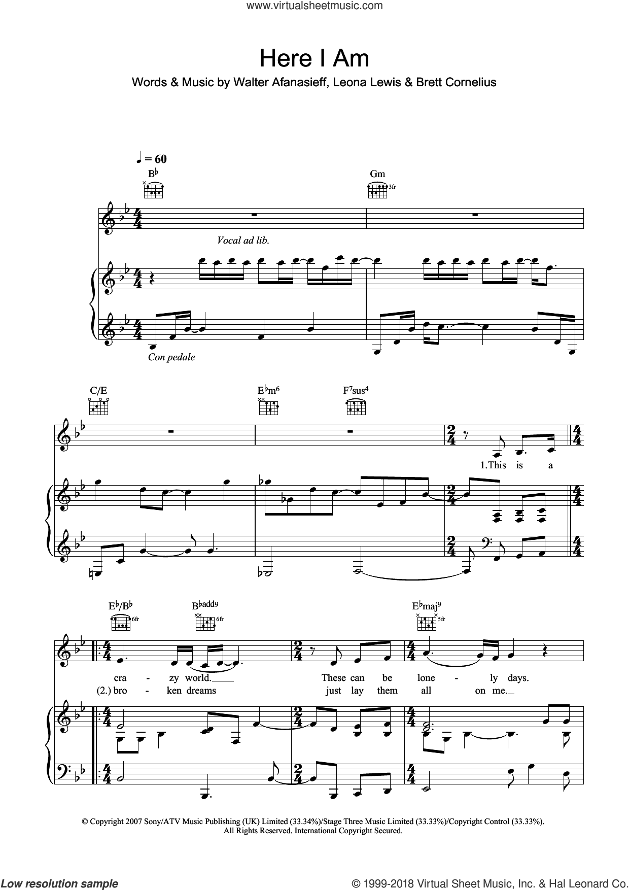 Here I Am sheet music for voice, piano or guitar by Leona Lewis, Brett Cornelius and Walter Afanasieff, intermediate skill level