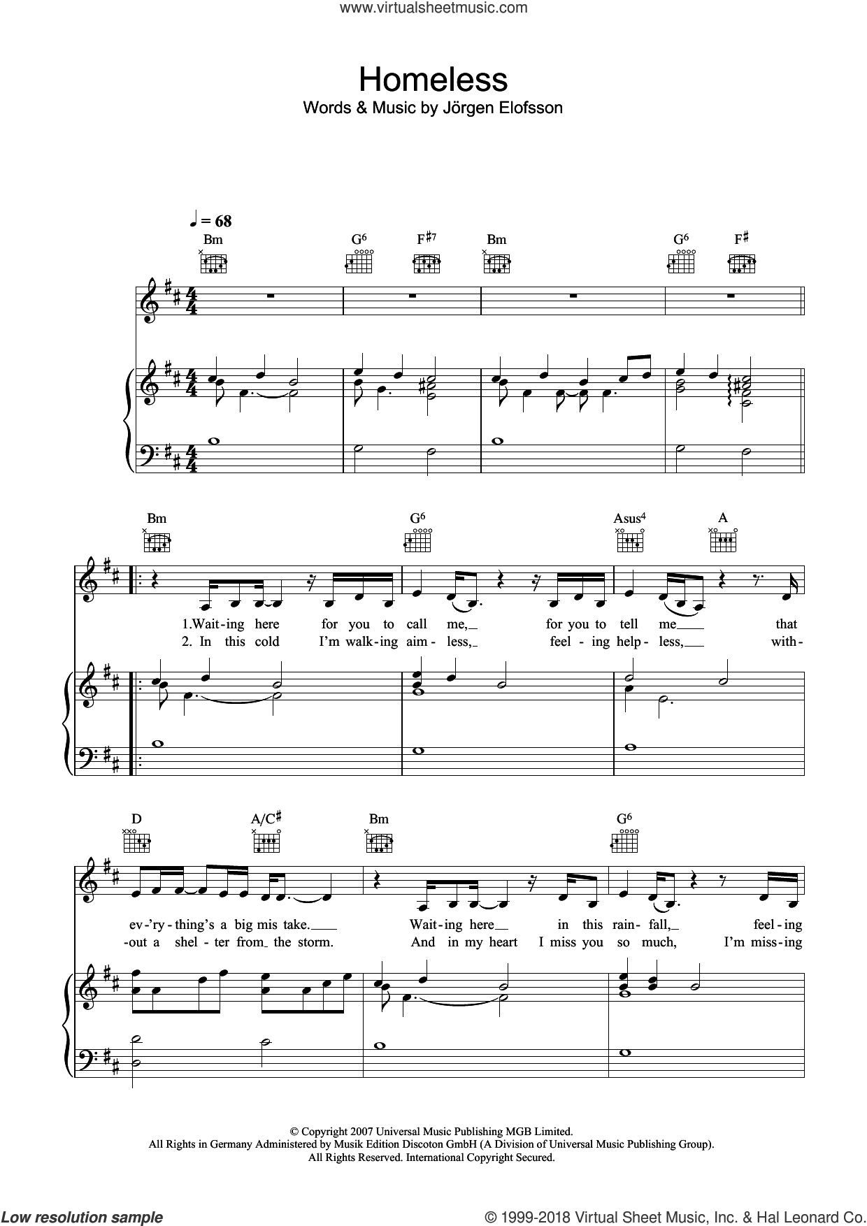 Homeless sheet music for voice, piano or guitar by Leona Lewis and Jorgen Elofsson, intermediate skill level