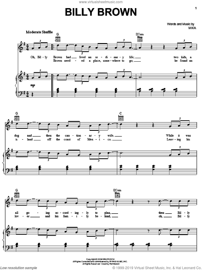 Billy Brown sheet music for voice, piano or guitar by Mika. Score Image Preview.