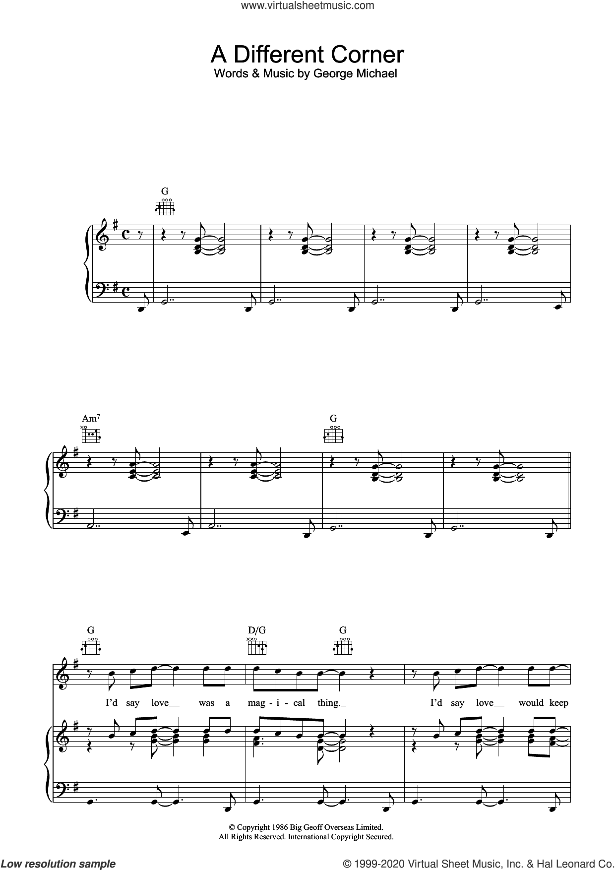 A Different Corner sheet music for voice, piano or guitar by George Michael, intermediate skill level