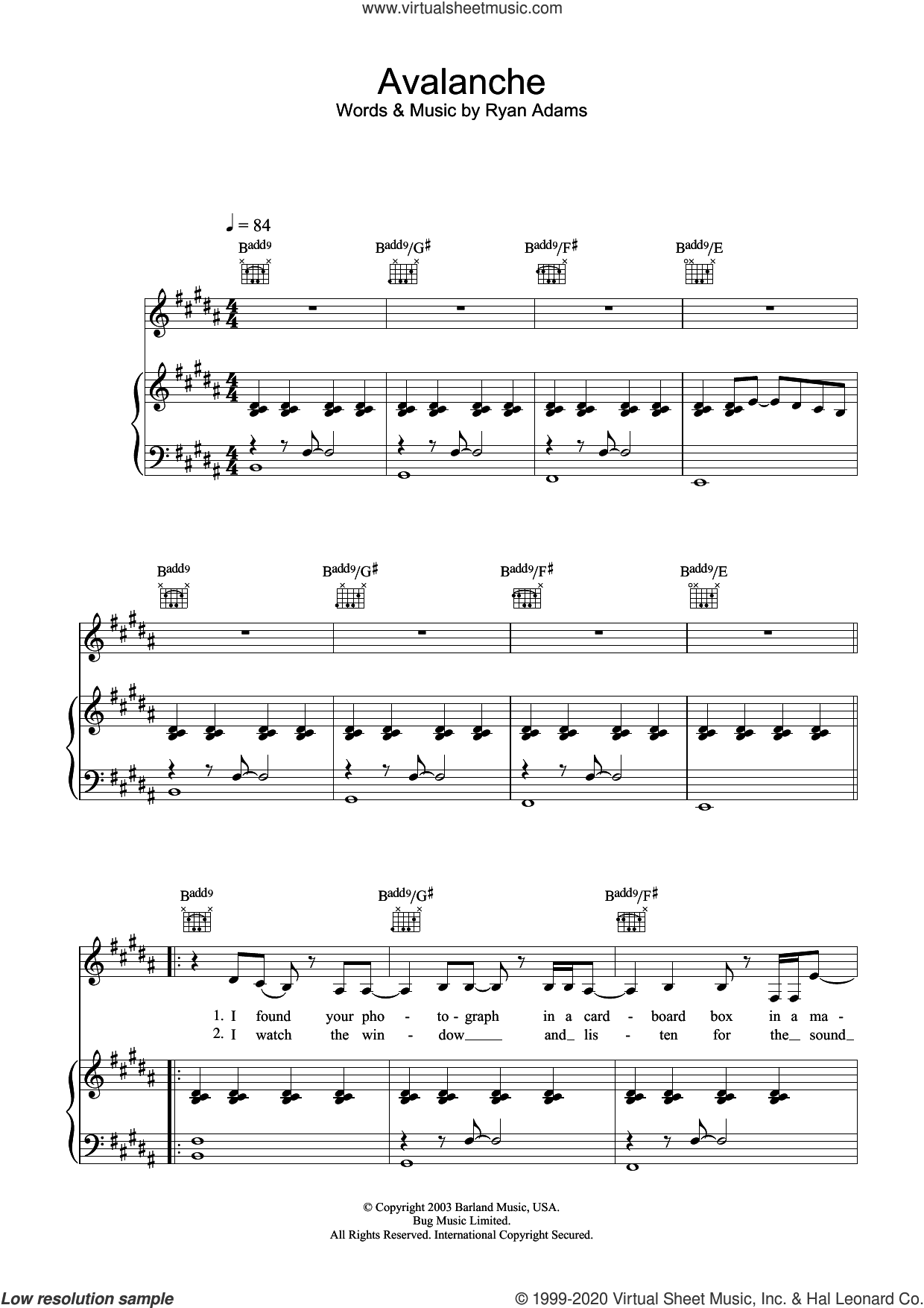 Avalanche sheet music for voice, piano or guitar by Ryan Adams, intermediate skill level
