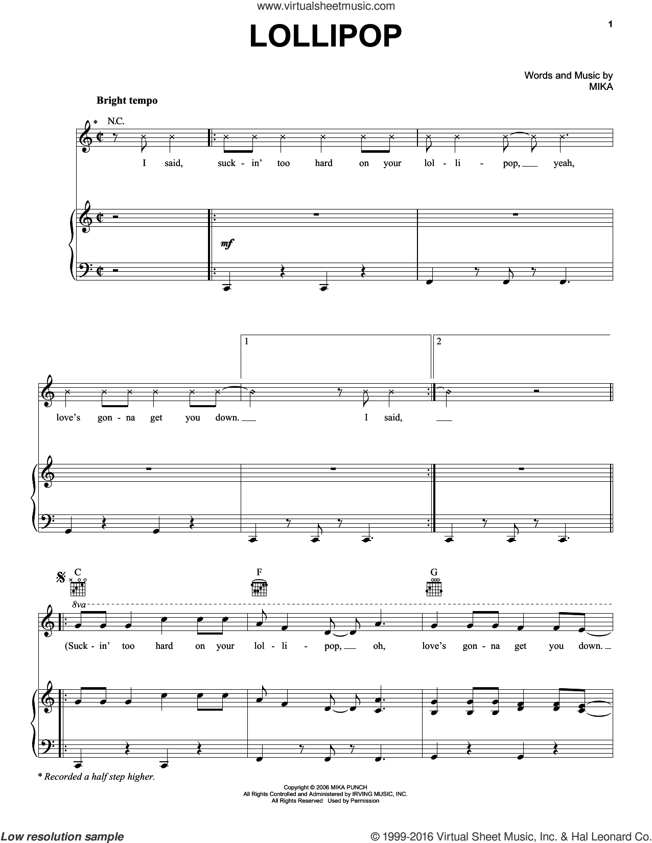 Lollipop sheet music for voice, piano or guitar by Mika. Score Image Preview.