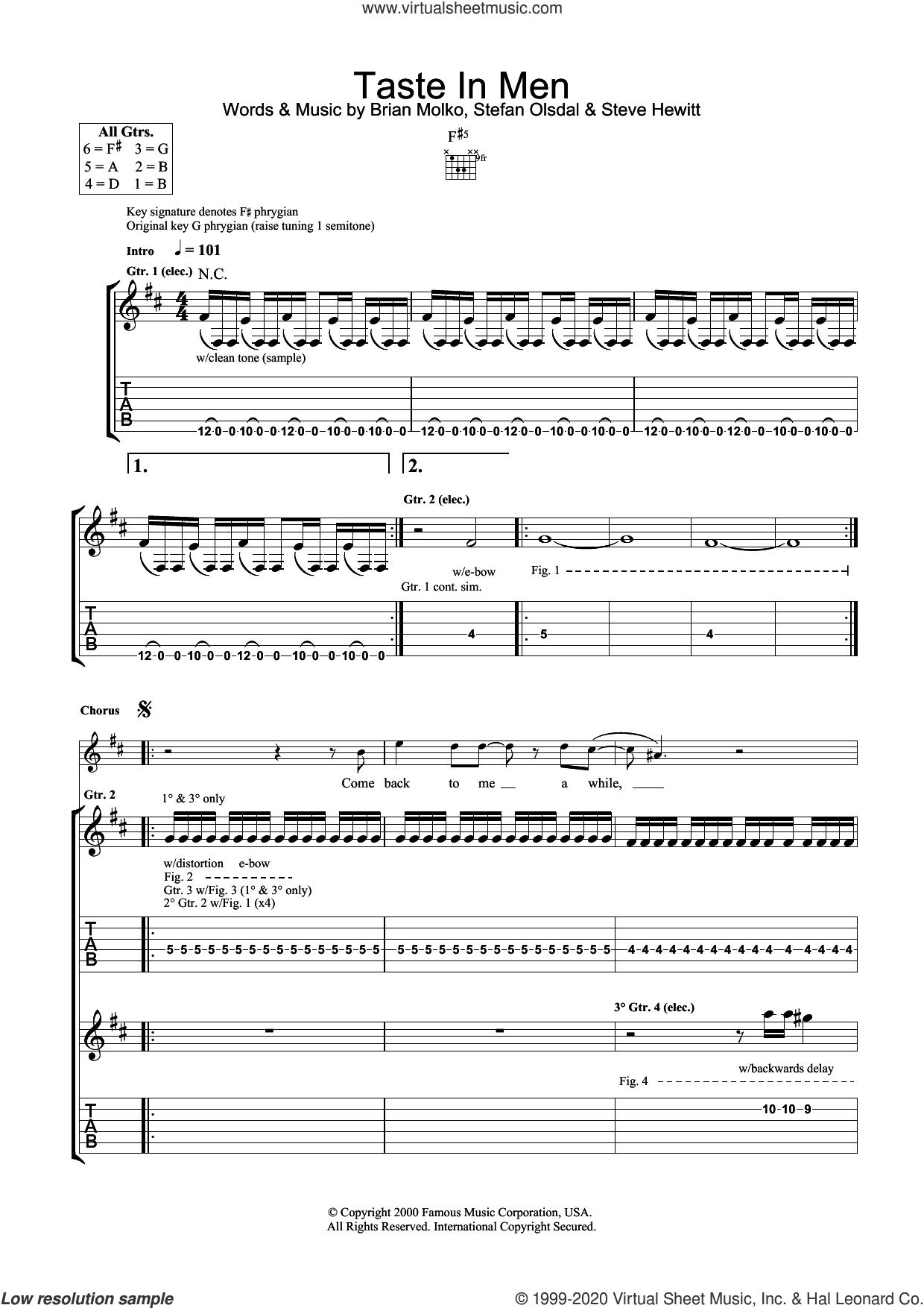 Taste In Men sheet music for guitar (tablature) by Placebo, Brian Molko, Stefan Olsdal and Steve Hewitt, intermediate skill level