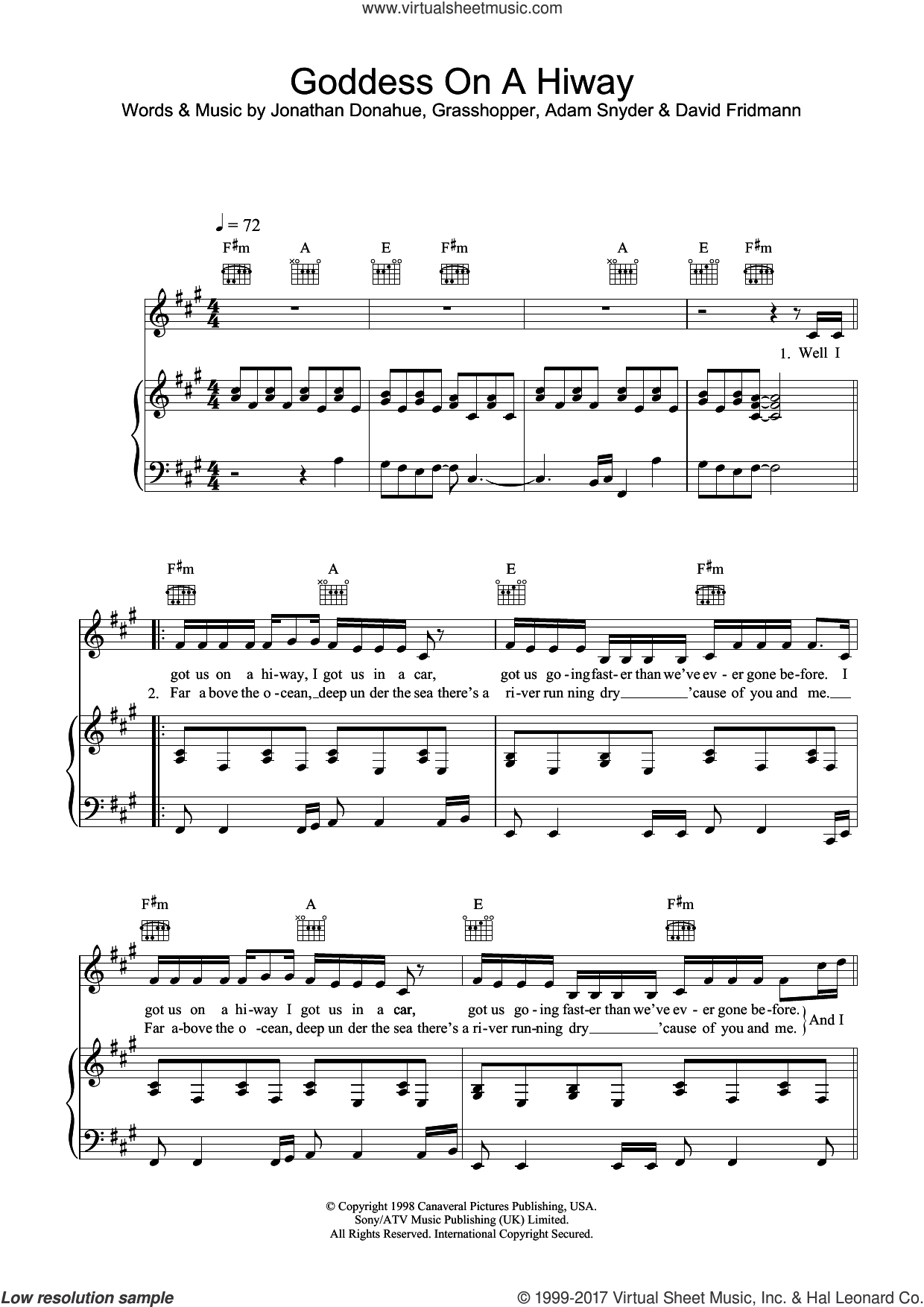 Goddess On A Hiway sheet music for voice, piano or guitar by Mercury Rev and Adam Snyder. Score Image Preview.