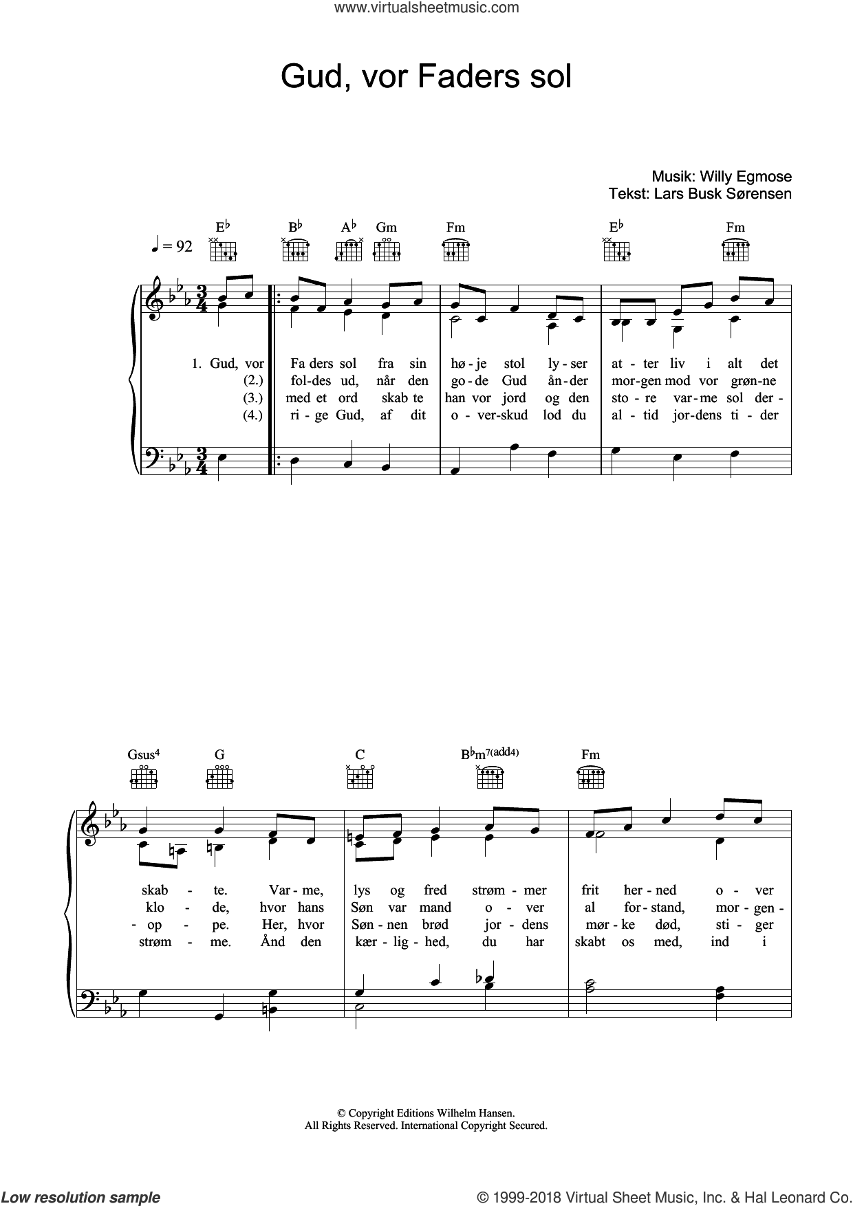 Gud, Vor Faders Sol sheet music for voice, piano or guitar by Willy Egmose and Lars Busk Sorensen, intermediate skill level