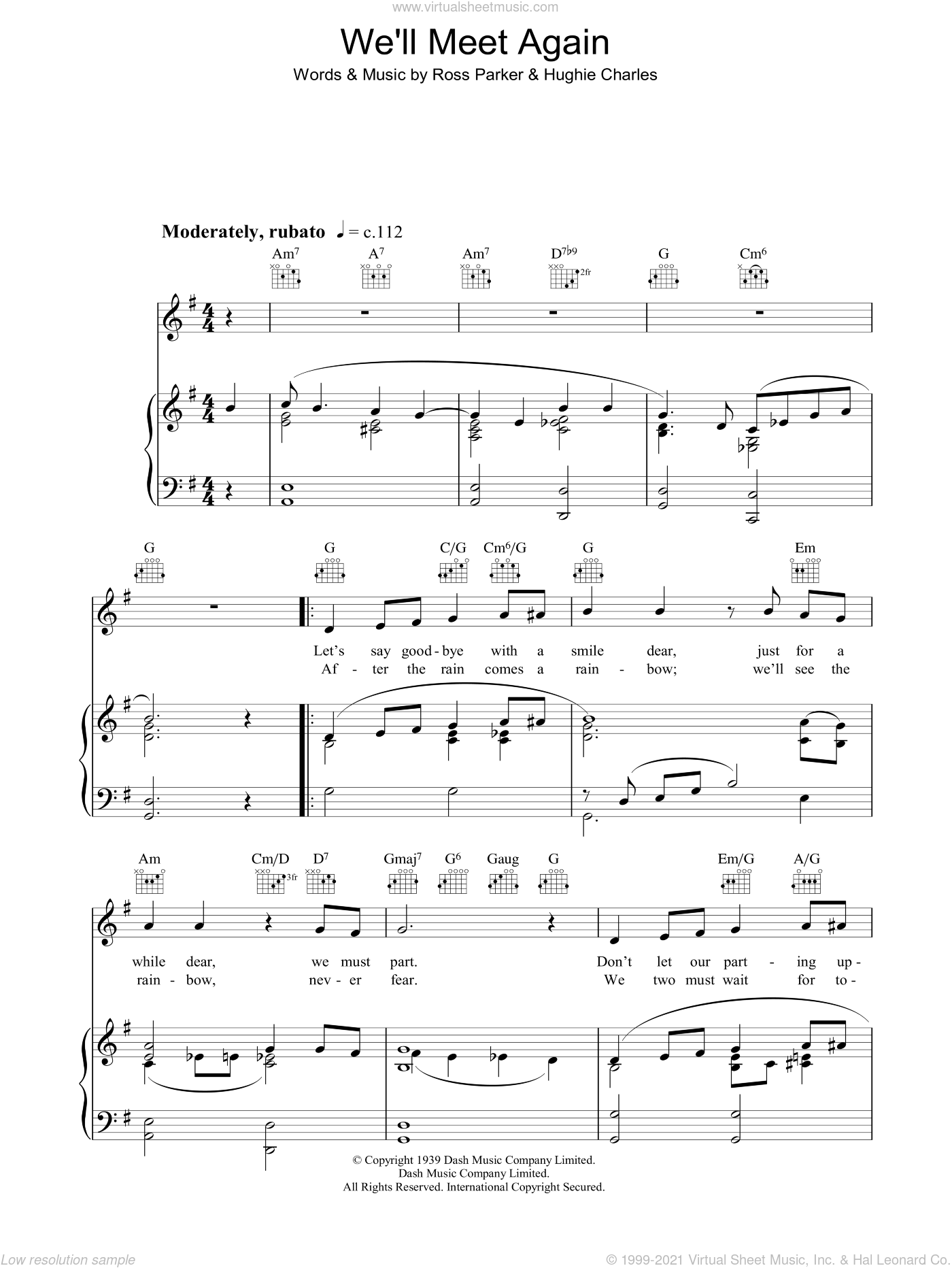 We'll Meet Again sheet music for voice, piano or guitar by Katherine Jenkins, Hughie Charles and Ross Parker, classical score, intermediate. Score Image Preview.