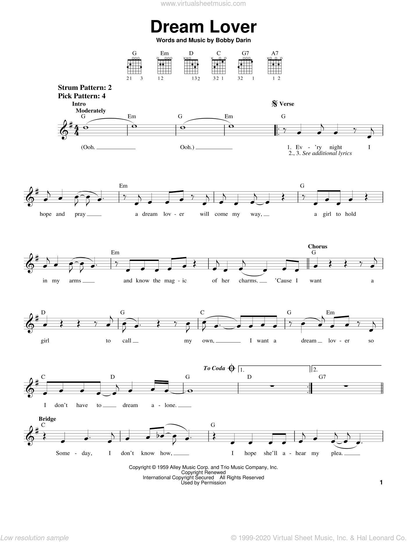 Dream Lover sheet music for guitar solo (chords) by Bobby Darin and Manhattan Transfer, easy guitar (chords)