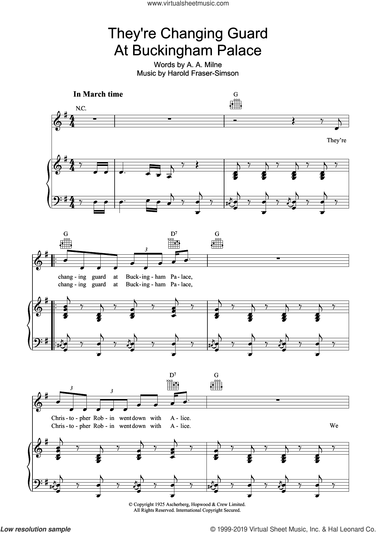 They're Changing Guard At Buckingham Palace sheet music for voice, piano or guitar by A.A. Milne and Harold Fraser Simson, intermediate skill level