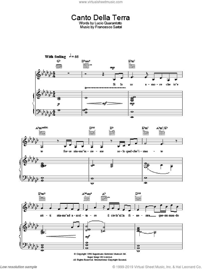 Canto Della Terra sheet music for voice, piano or guitar by Katherine Jenkins, Francesco Sartori and Lucio Quarantotto, classical score, intermediate skill level