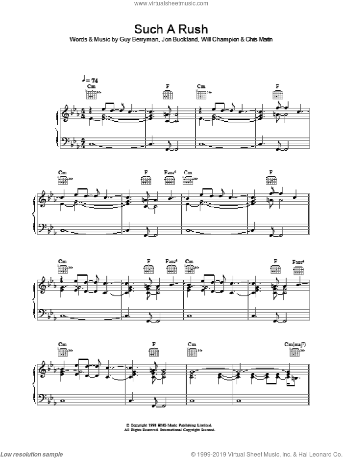 Such A Rush sheet music for voice, piano or guitar by Coldplay. Score Image Preview.