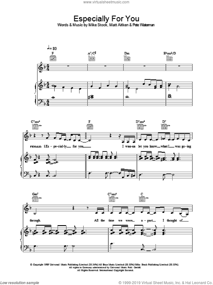 Especially For You sheet music for voice, piano or guitar by Matt Aitken, Kylie Minogue and Pete Waterman. Score Image Preview.