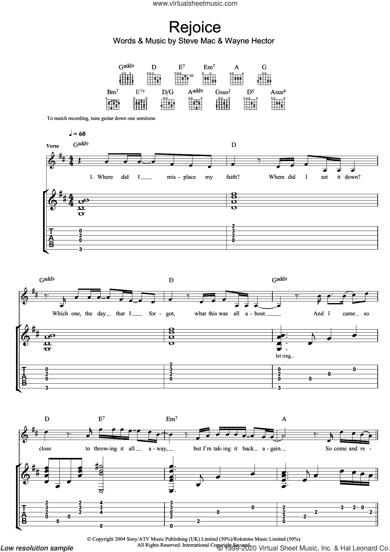 Rejoice sheet music for guitar (tablature) by Katherine Jenkins, Steve Mac and Wayne Hector, classical score, intermediate skill level