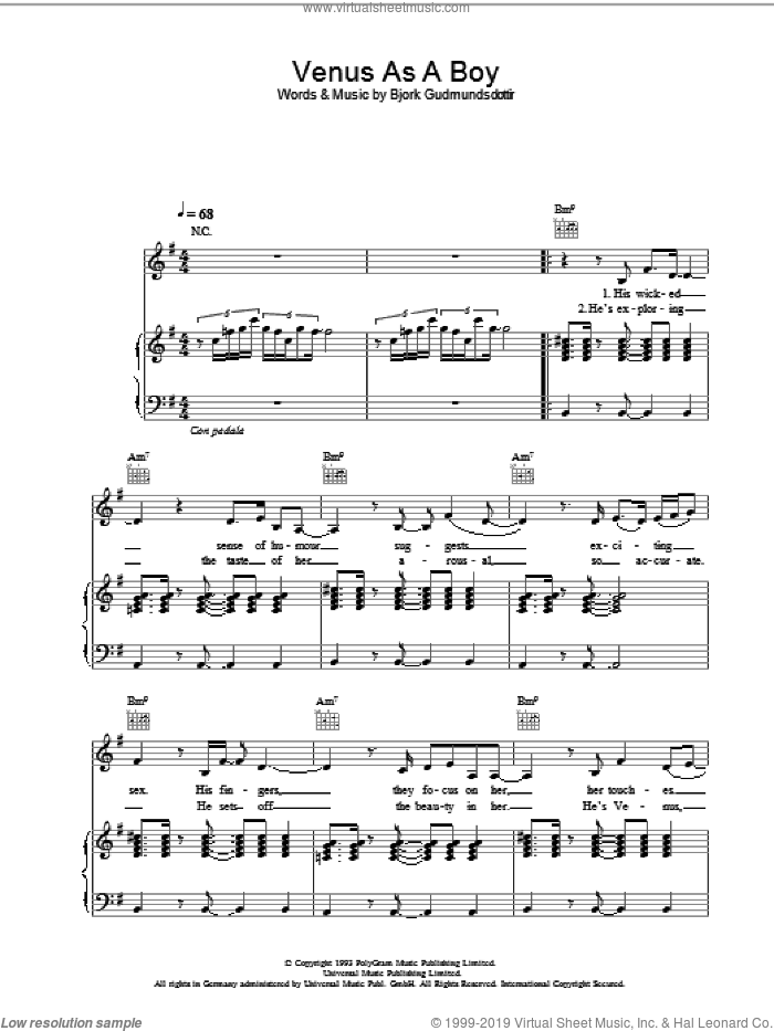 Venus As A Boy sheet music for voice, piano or guitar by Bjork Gudmundsdottir and Corinne Bailey Rae. Score Image Preview.