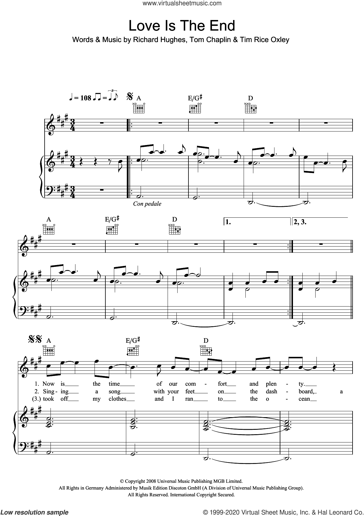 Love Is The End sheet music for voice, piano or guitar by Tim Rice-Oxley, Richard Hughes and Tom Chaplin, intermediate skill level