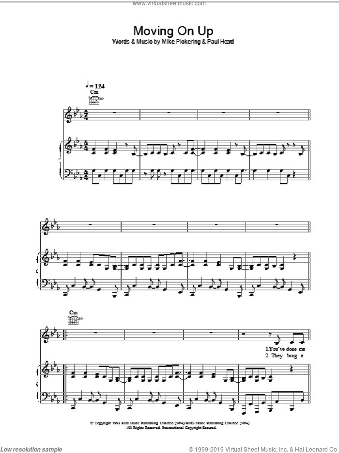 Moving On Up sheet music for voice, piano or guitar by Mike Pickering