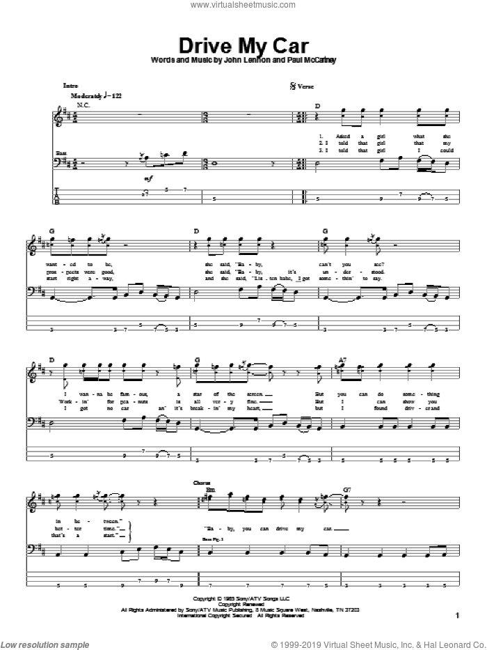Drive My Car sheet music for bass (tablature) (bass guitar) by The Beatles, John Lennon and Paul McCartney, intermediate skill level