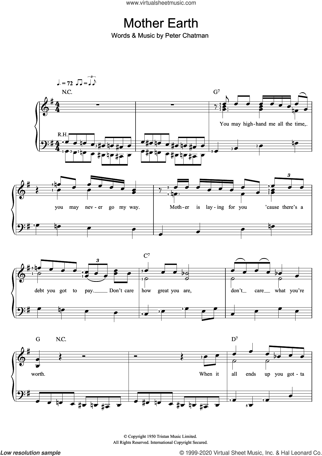 Mother Earth sheet music for voice and piano by Memphis Slim and Peter Chatman, intermediate skill level