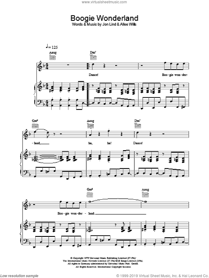 Boogie Wonderland sheet music for voice, piano or guitar by Allee Willis, Earth, Wind & Fire and Jon Lind. Score Image Preview.