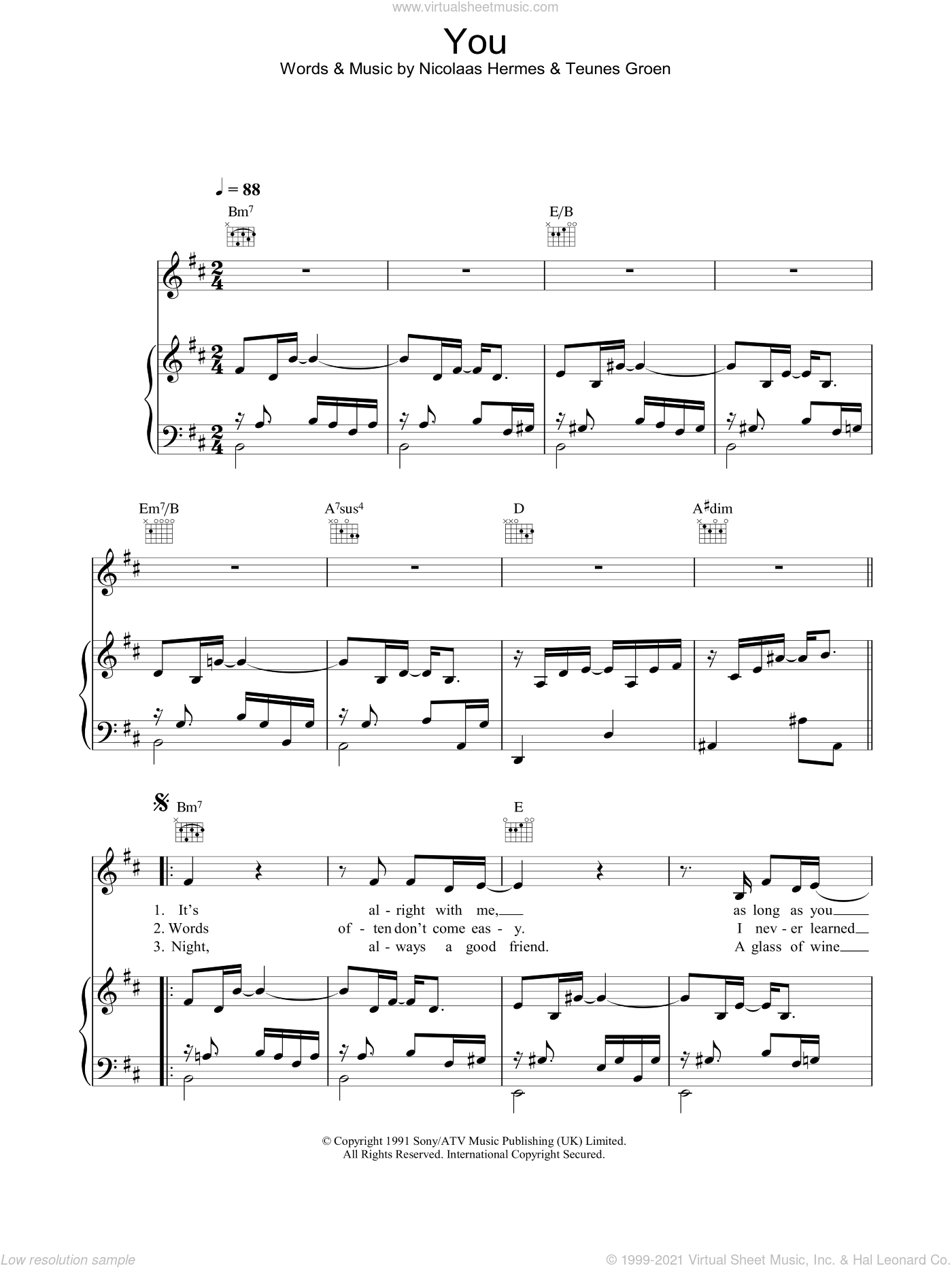 You sheet music for voice, piano or guitar by Ten Sharp, Nicolaas Hermes and Teunes Groen, intermediate skill level