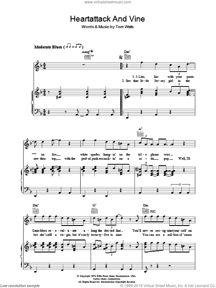 Heartattack And Vine sheet music for voice, piano or guitar by Tom Waits. Score Image Preview.