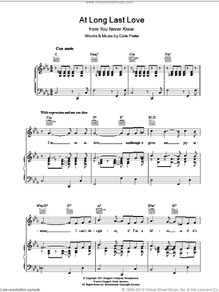 At Long Last Love sheet music for voice, piano or guitar by Cole Porter. Score Image Preview.