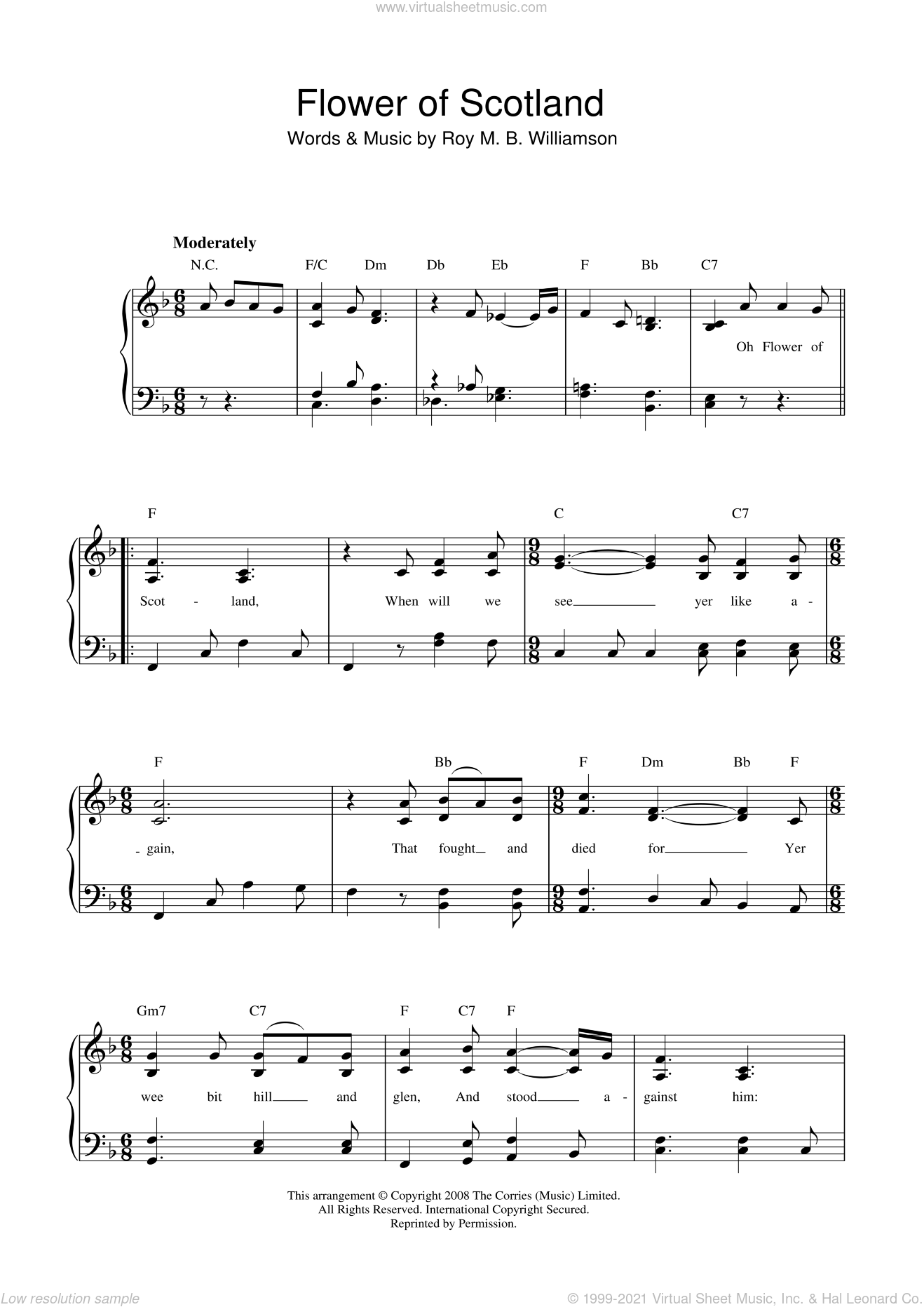 Flower Of Scotland (Unofficial Scottish National Anthem) sheet music for voice and piano by The Corries and Roy M. B. Williamson, intermediate skill level