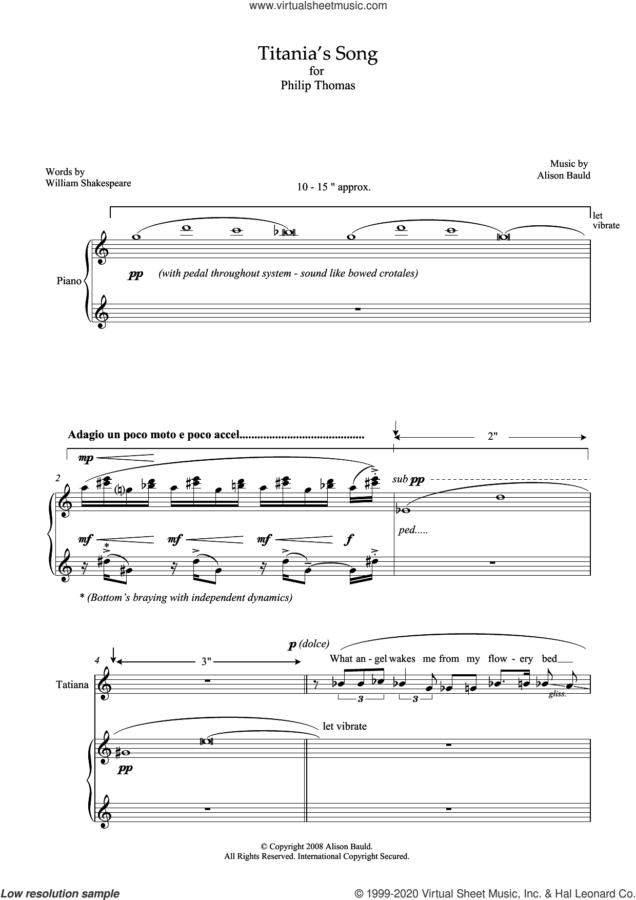 Titania's Song (for soprano and piano) sheet music for voice and piano by Alison Bauld and William Shakespeare, classical score, intermediate skill level