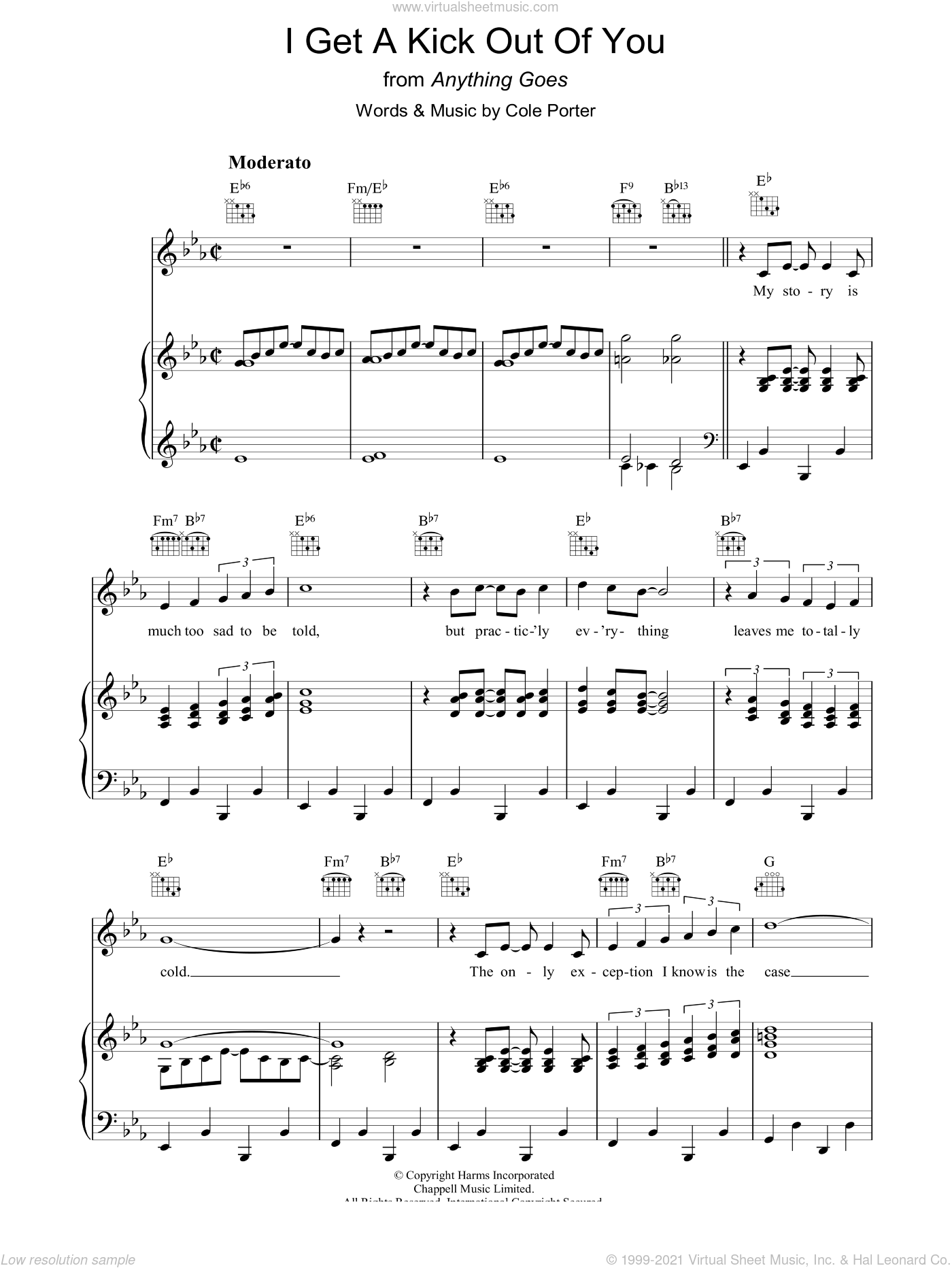 I Get A Kick Out Of You sheet music for voice, piano or guitar by Cole Porter, intermediate