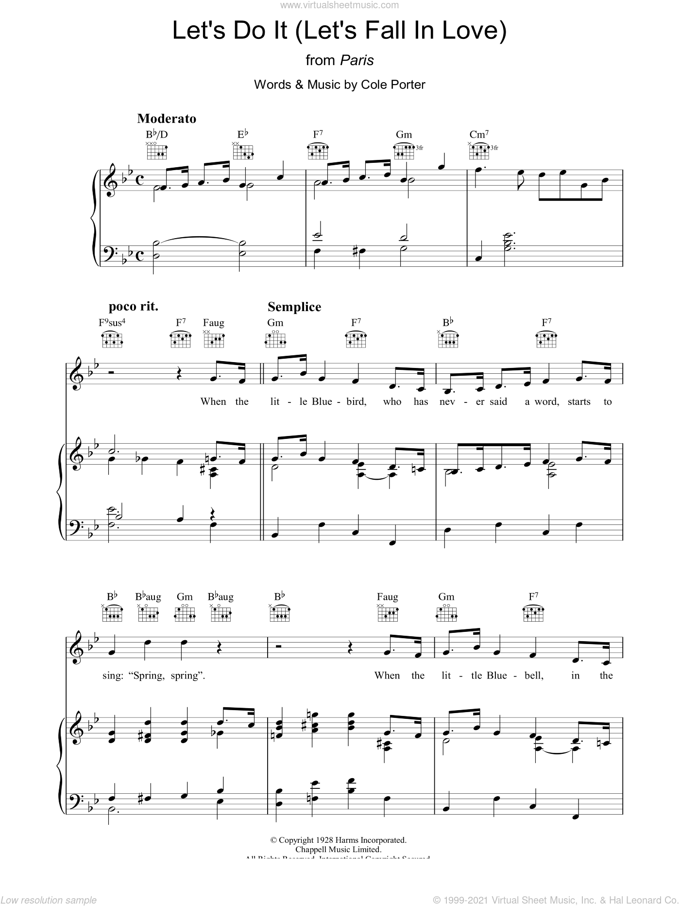 Let's Do It (Let's Fall In Love) sheet music for voice, piano or guitar by Cole Porter, intermediate skill level