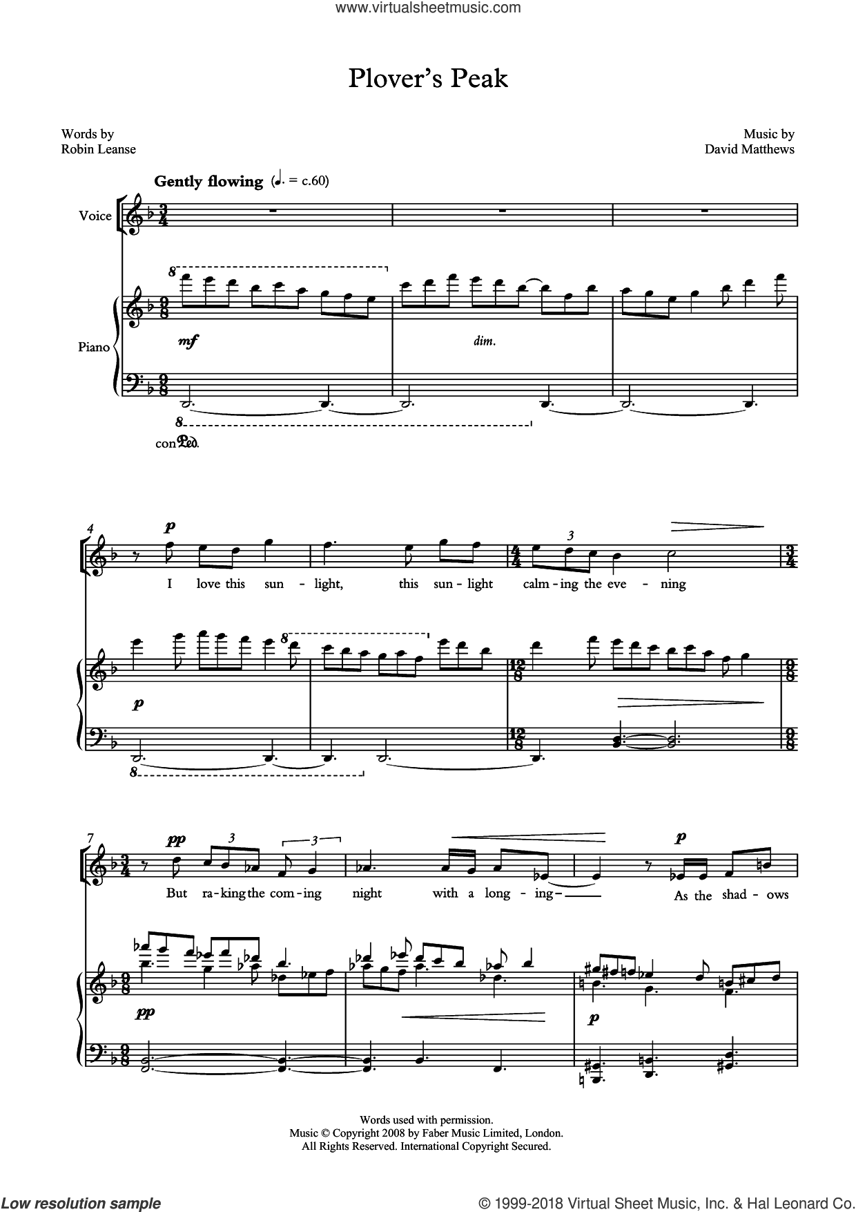 Plover's Peak (for tenor and piano) sheet music for voice and piano by David Matthews and Robin Leanse, classical score, intermediate skill level
