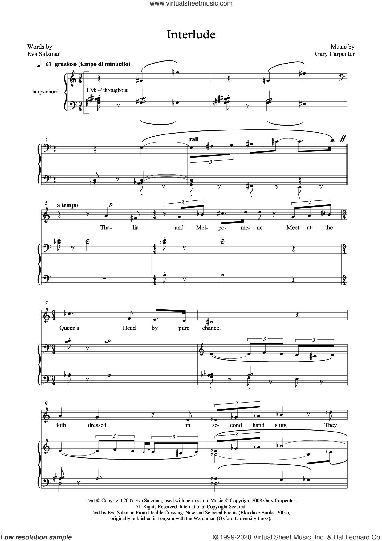 Interlude (for mezzo-soprano and harpsichord) sheet music for voice and piano by Gary Carpenter and Eva Salzman, classical score, intermediate skill level