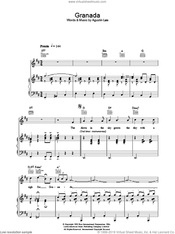 Granada sheet music for voice, piano or guitar by Katherine Jenkins and Agustin Lara, classical score, intermediate skill level
