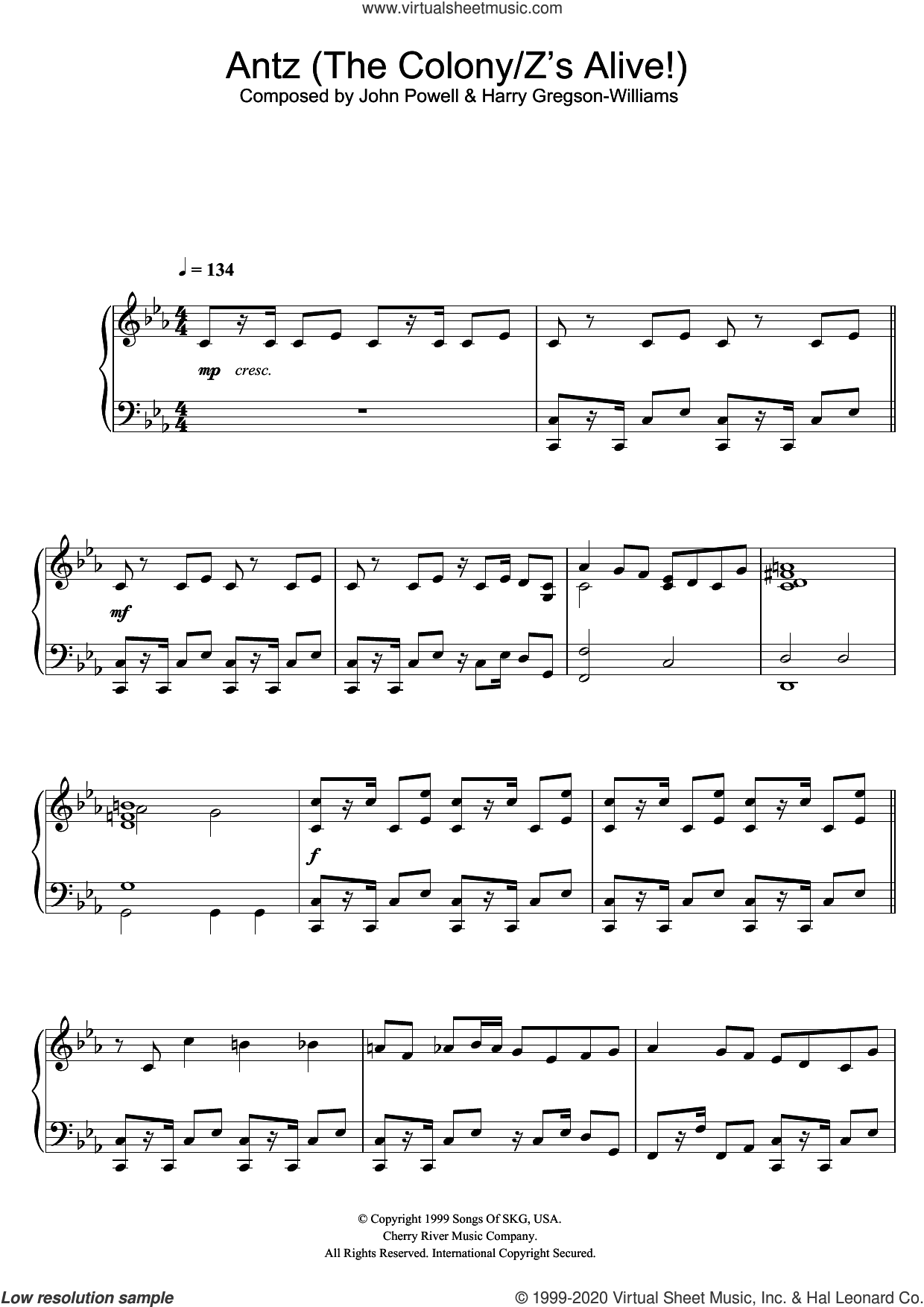Antz (The Colony/Z's Alive!) sheet music for piano solo by Harry Gregson-Williams and John Powell, Harry Gregson-Williams and John Powell, intermediate skill level